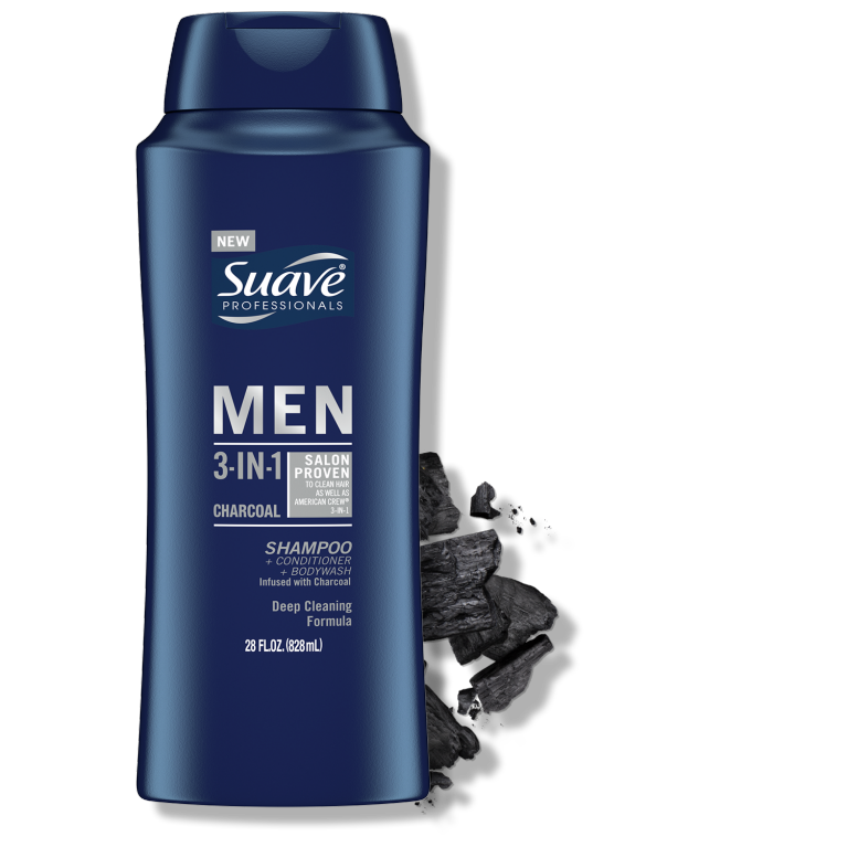 Suave  Hippo Men 2 in 1 Charcoal Shampoo Conditioner 28FL FOP