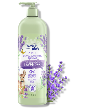 [Suave Kids 3-in-1 Shampoo Conditioner and Body Wash with 100% Natural Lavender Front of Pack, Suave Kids 3-in-1 Shampoo Conditioner and Body Wash with 100% Natural Lavender Back of Pack]
