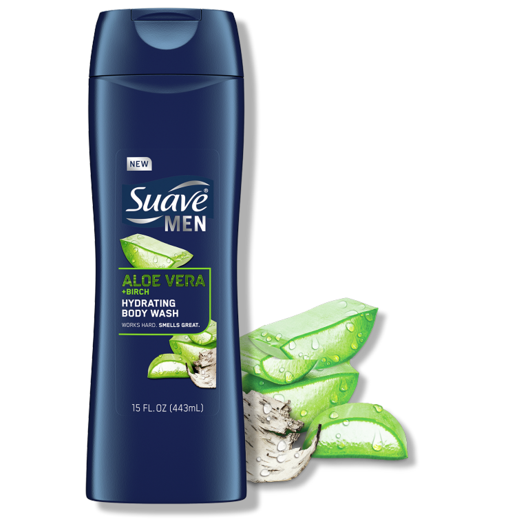 Suave Men Aloe Vera + Birch Hydrating Body Wash Front of Pack