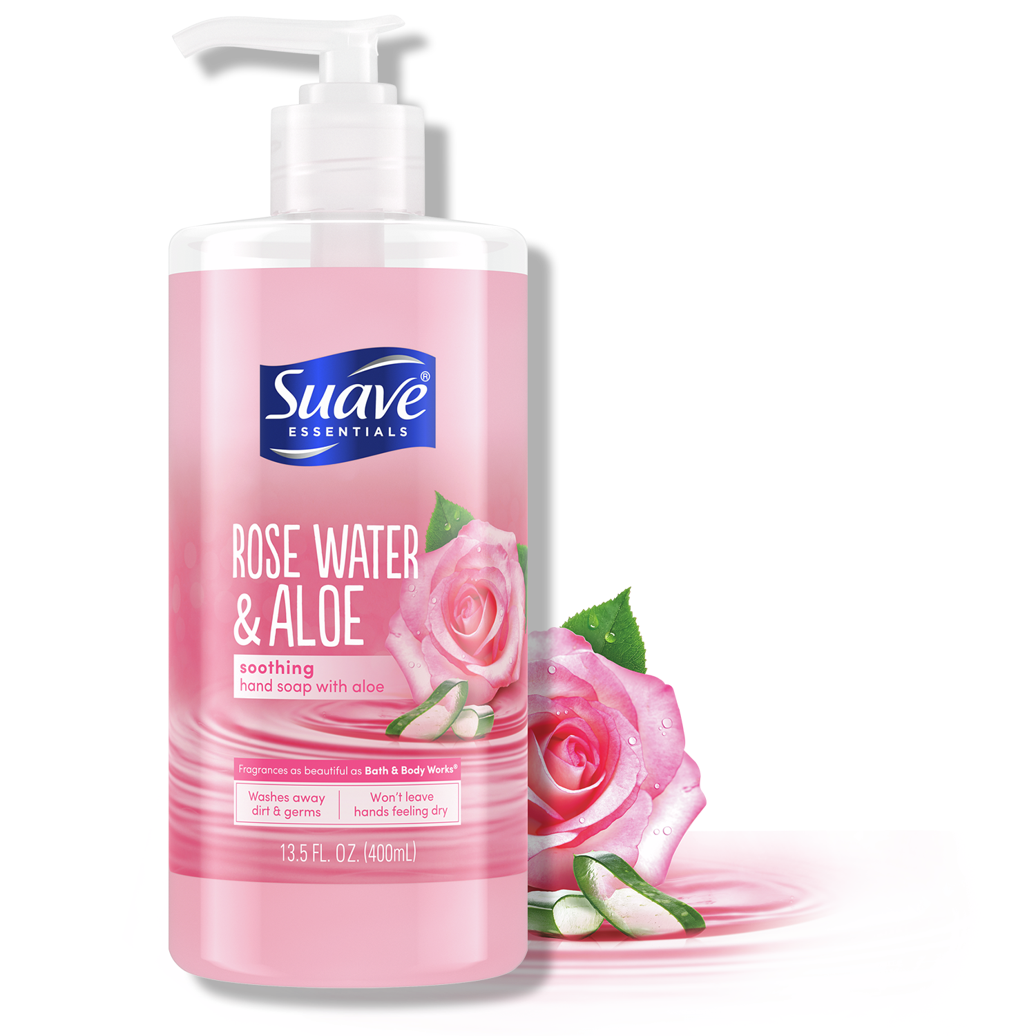 Suave Hand Soap Essentials Rose Water Aloe Soothing 13.5FL