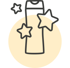 Icon (or line illustration) of a product bottle with three stars around it