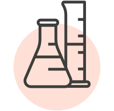Icon (or line illustration) of a beaker and flask