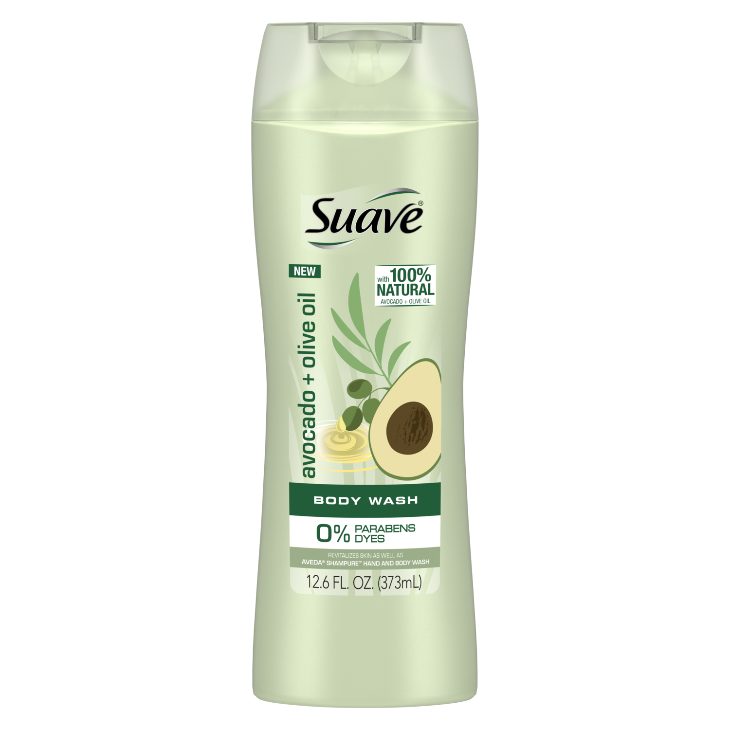 [Avocado + Olive Oil Body Wash 12.6oz, Woman holding loofah sudsed with Suave® body wash product in hand]