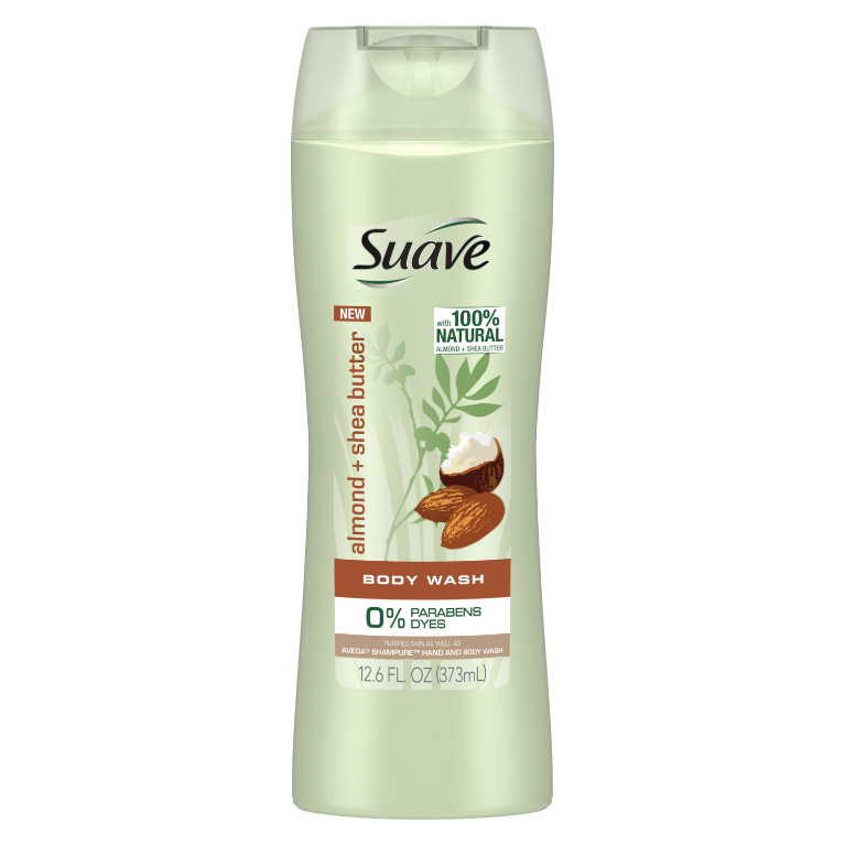 [Almond + Shea Butter Body Wash 12.6oz, Woman holding loofah sudsed with Suave® body wash product in hand]