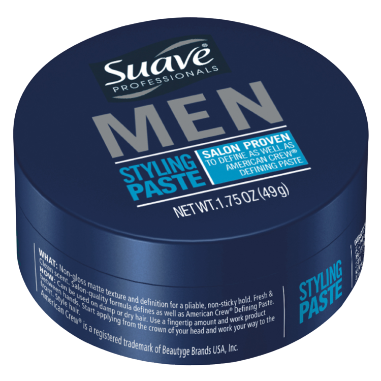 [Styling Paste 1.75oz, A man looking into his bathroom mirror fixes his hairstyle with Suave Men Styling Paste.]