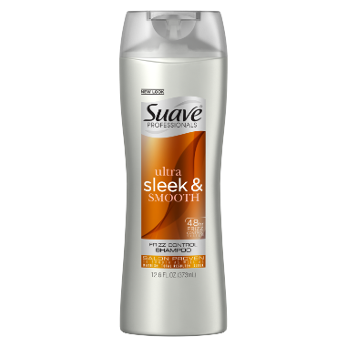 [Sleek & Smooth Shampoo 12.6oz, Woman holding Suave® shampoo product in hand]