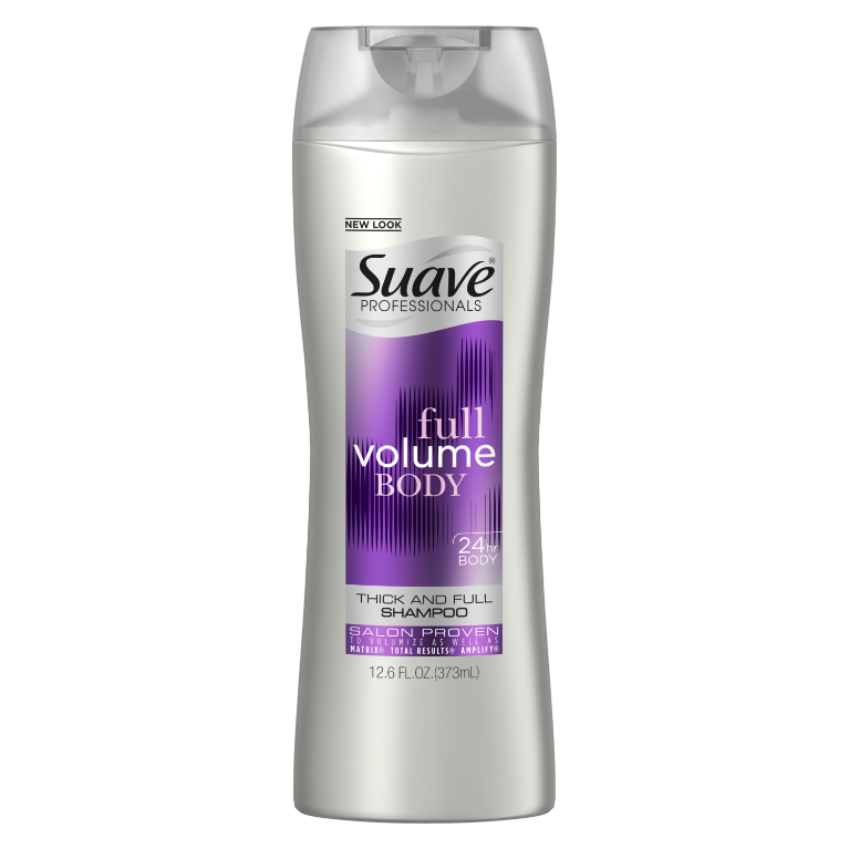 [Volumizing Shampoo 12.6oz, Woman holding Suave® shampoo product in hand]