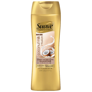 [Coconut Milk Infusion Shampoo 12.6oz, Woman holding Suave® shampoo product in hand]