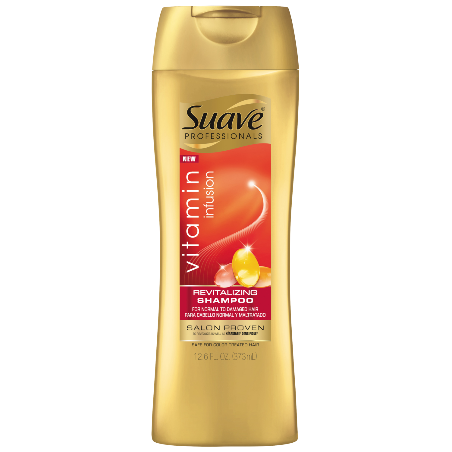 [Vitamin Infusion Revitalizing Shampoo 12.6oz, Woman holding Suave® shampoo product in hand]