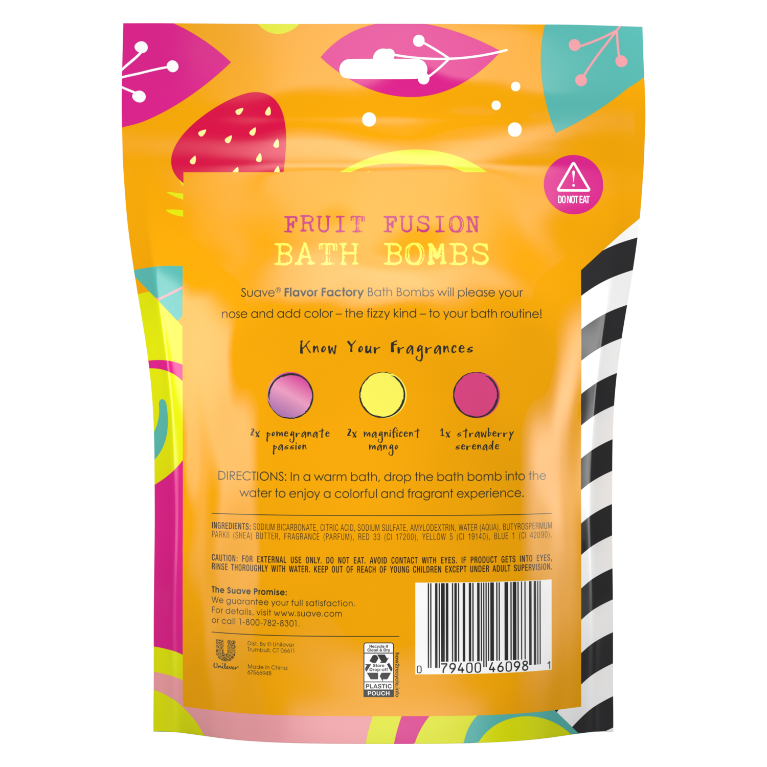 Suave Flavor Factory Kids Fruit Fusion Bath Bombs 250g