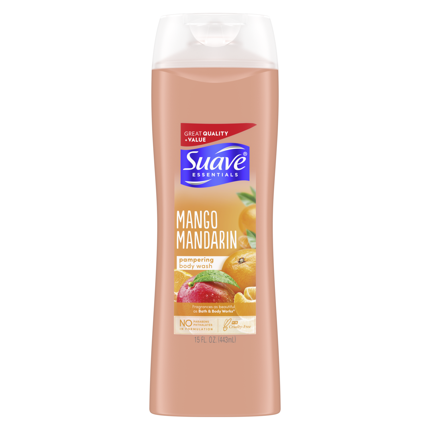[Mango Mandarin Body Wash 15oz, Woman holding loofah sudsed with Suave® body wash product in hand]