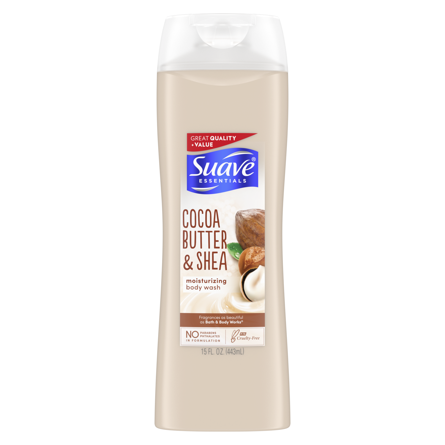 [Creamy Cocoa Butter & Shea Body Wash 15oz, Woman holding loofah sudsed with Suave® body wash product in hand]