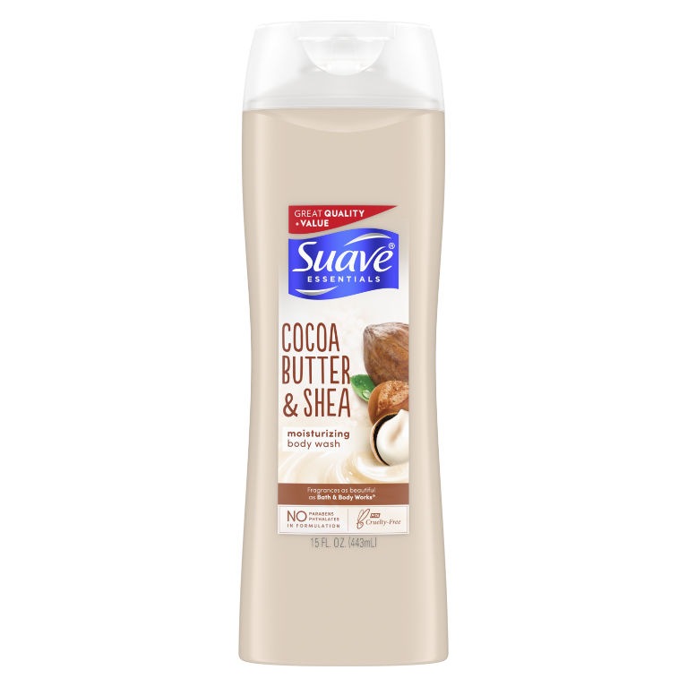 Suave Essentials Body Wash with Vitamin E Creamy Cocoa Butter and Shea