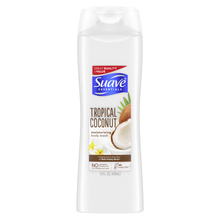 Suave Essentials Body Wash Creamy Tropical Coconut 15 oz