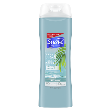 [Ocean Breeze Body Wash 15oz, Woman holding loofah sudsed with Suave® body wash product in hand]