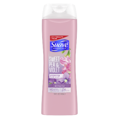 [Sweet Pea & Violet Body wash 15oz, Woman holding loofah sudsed with Suave® body wash product in hand]