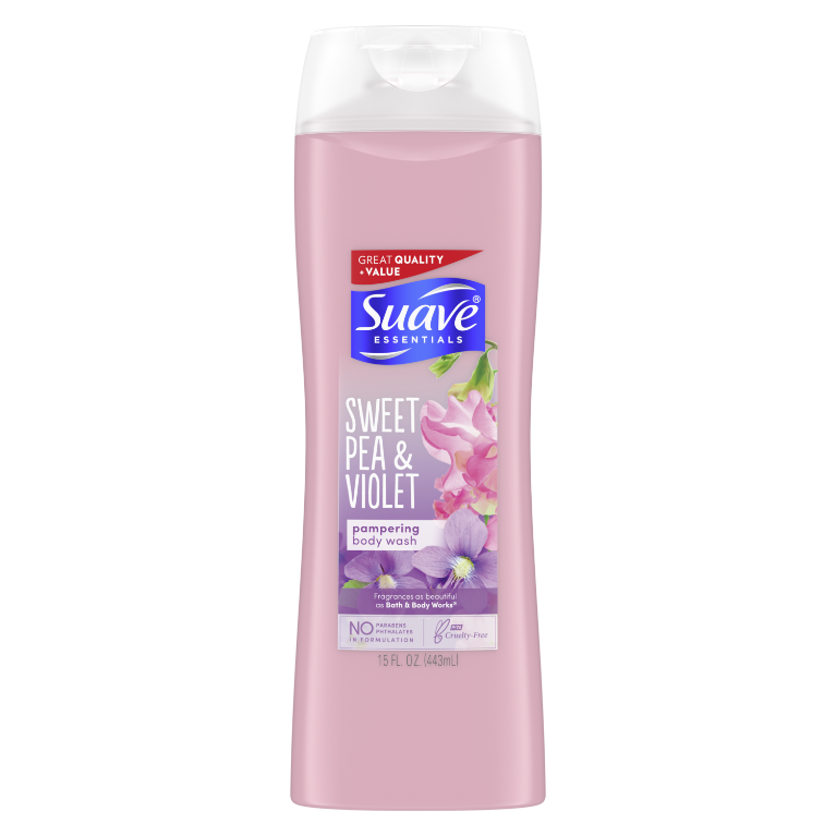 Suave Essentials Body Wash with Vitamin E Sweet Pea and Violet Fragran
