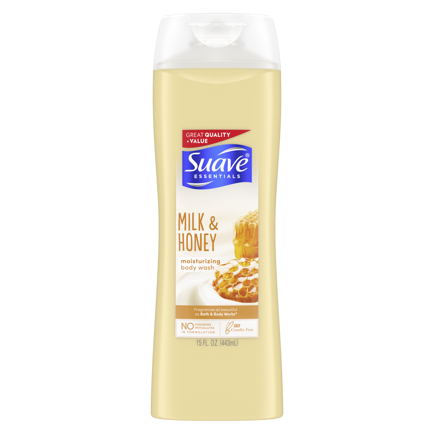 [Creamy Milk & Honey Splash Body Wash 15oz, Woman holding loofah sudsed with Suave® body wash product in hand]