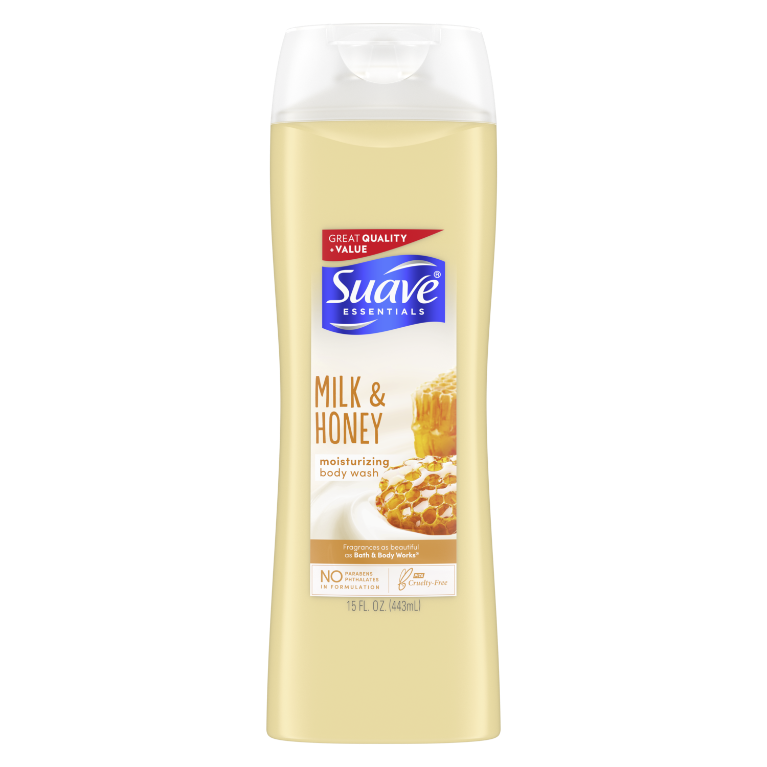 Suave Essentials Body Wash with Vitamin E Creamy Milk and Honey Splash