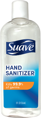 [Hand Sanitizer 8oz Front of Pack, Hand Sanitizer 8oz Back of Pack, Suave Hand Sanitizer 99.9 Percent Claim, Suave Hand Sanitizer 3 Steps, Suave Hand Sanitizer FDA Claim]
