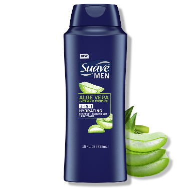 [3in1 Aloe Vera and Vitamin B Complex Men's Shampoo Conditioner and Body Wash Front of Pack, 3in1 Aloe Vera and Vitamin B Complex Men's Shampoo Conditioner and Body Wash Back of Pack]