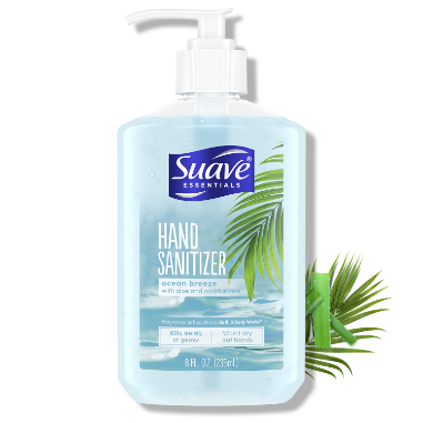 [Ocean Breeze Hand Sanitizer Front of Pack, Ocean Breeze Hand Sanitizer Back of Pack, Suave Hand Sanitizer 99.9 Percent Claim, Suave Hand Sanitizer 3 Steps, Suave Hand Sanitizer FDA Claim]